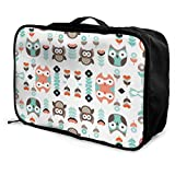 Portable Luggage Duffel Bag Mint and Orange Owl Travel Bags Carry-on In Trolley Handle