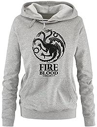 Comedy Shirts - Game of Thrones - FIRE AND BLOOD - Damen Hoodie - Gr. S - XL Versch. Farben