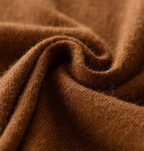 LongMing 100% Kaschmir Pullover for Damen Winter Warm Lange Ärmel V-Ausschnitt Slim Swaeter Braun