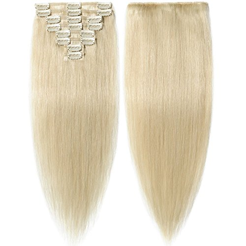 Clip In Extensions Echthaar Platinum Blonde 100% Remy Echthaar Haarverlängerung 8 Tressen (60cm-80g)