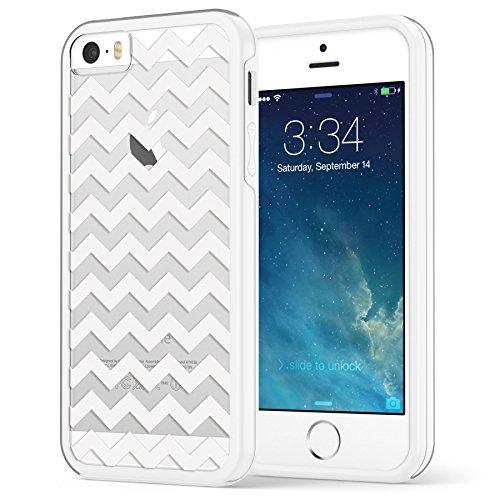 iPhone SE 5 5s Case, Hülle True Color® Schmal Chevron Waves Gedruckt auf freier transparenter Hybrid -Abdeckung Hard + Soft Slim dünnen haltbaren Schutzschutz aus Gummi TPU Stoßabdeckung - Teal White