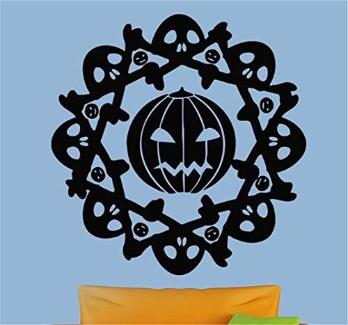 wandaufkleber 3d Wandaufkleber Schlafzimmer Glücklicher Halloween-Zeichen-Muster-Kürbis im Kreis-Schädel-Raum, der Aufkleber für Wohnzimmer-Schlafzimmer schnitzt