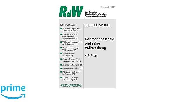 Der Mahnbescheid Und Seine Vollstreckung Schriftenreihe Rdw