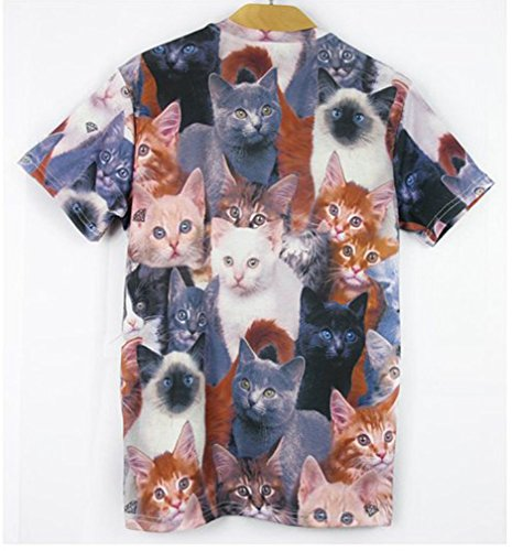 Pretty321 Men Women 3D Polydactyl cats Hip Hop Creative Graffiti Unisex T-Shirts Amazon