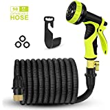 AIMEN Expandable Garden Hose,2018 Upgraded Best 50 Ft Flexible Water Hose With 9 High Pressure Spray Nozzle,Solid Brass Connector Fittings No Rust&Leak,Extra Strength Fabric(50FT) (Black)