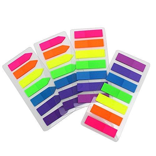 10Sets neón 7colores marcador de página pestañas de índice banderas Nota adhesiva translúcido para marcado para marcador de página 1400piezas