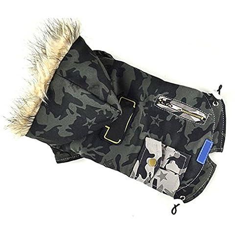 Alcyonée pour animal domestique Chien Camouflage d'hiver chaud Coton Veste matelassée Vêtements