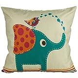 Luxbon Kissenbezug Kissenhülle Lendenkissen Bettkissen Pillowcase Dekokissen für Hause Zimmer Sofa Auto 45 x 45 cm Blau Elefant mit Vogel