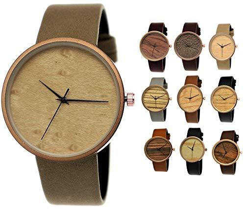 Elegante Pure Time® Designer Damen-Uhr Öko Natur Holz-Uhr Armband Uhr Analog Klassisch Quarz-Uhr Armbanduhr Grau Beige Braun Rose-Gold Leder-Armband Holz Ziffernblatt -