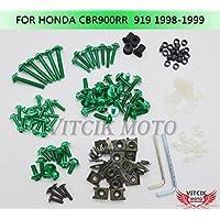VITCIK Kit Completo de Tornillos y Pernos de Carenado para Honda CBR 900 RR 919 1998 1999 CBR 900 RR 919 98 99 Clips de Sujeción en Aluminio CNC de La Motocicleta (Verde)