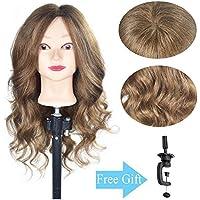 Cabezal de entrenamiento 100% cabello humano real cosmetología, maniquí de muñeca (soporte de abrazadera de mesa incluido)