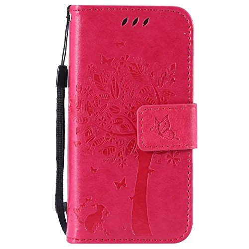 Price comparison product image iphone 5 / 5S / SE Case Leather [Rose red], Cozy Hut [Wallet Case] Premium Soft PU Leather Notebook Wallet Embossed Flower Tree Design Case with [Kickstand] Stand Function Card Holder and ID Slot Slim Flip Protective Skin Cover for iphone 5 / 5S / SE 4,0 - Rose red