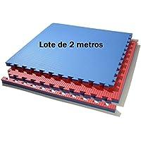 Lote 2 m. Cuadrados suelo tatami puzzle (azul/rojo) de grosor 3
