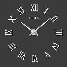 FAS1 Moderno DIY Reloj De Pared Grande Big Reloj Adhesivo 3d Pegatinas Números Romanos Reloj De Pared Home Office Decoración Extraíble (Batería No Incluida) Plateado
