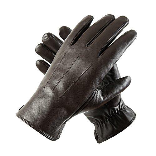 Herren Winter Lederhandschuhe von Acdyion für Touch Screen geeignet, Futter aus Kaschmir, Handschuhe aus echtem Leder (Medium, Braun-Kaschmirfutter) (Medium Echtem Leder Italienischen)