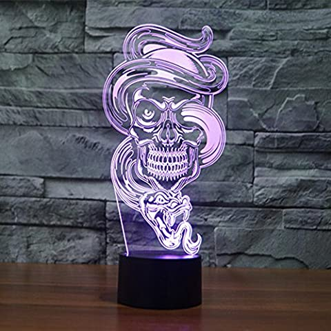 3D Optical Illusion Desk Lamp 7 Colors Change Touch Button USB Nightlight Produces Unique Visualization Lighting Effects Art Sculpture Light Snake Skull Ghost