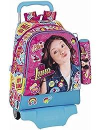 SOY LUNA - Mochila grande con ruedas 43cm y estuche escolar, diseño con caras aleatorias de personajes Soy Luna de Disney