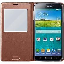 Samsung S-View - Funda para móvil Galaxy S5 (Inteligente, permite controlar funciones como la cámara, las notificaciones o las llamadas entrantes, impermeable), rosa dorado