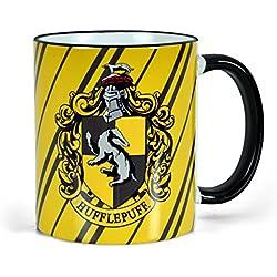 Harry Potter - taza de la casa Hufflepuff de Hogwarts - escudo del tejón - tazón de café - 300 ml de capacidad - cerámica
