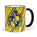 Elbenwald Harry Potter - Taza de la casa Hufflepuff de Hogwarts - Escudo del tejón - tazón de café - 300 ml de Capacidad - cerámica