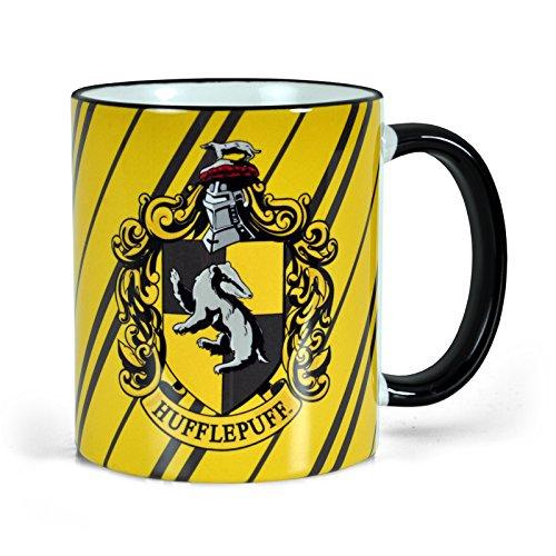 Elbenwald Harry Potter Hufflepuff Wappen Tasse Hogwarts Haus Symbol Logo Kaffee Becher 300ml Keramik -