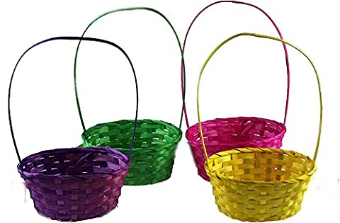 4 Empty Easter Egg Hunt Baskets Woven Wicker Decorative Bright Colours Gift Box Bag