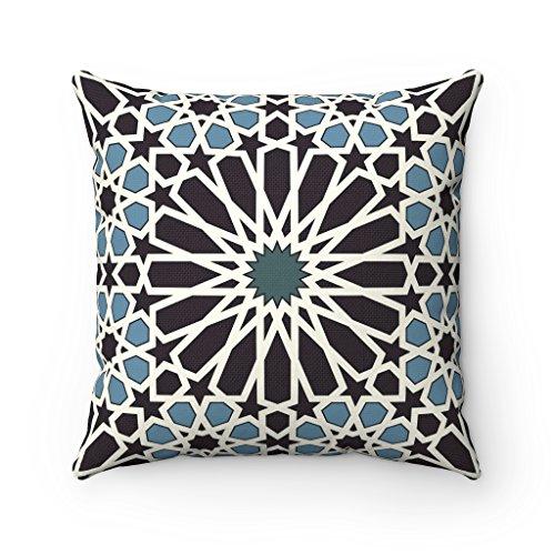 43 x 43 cm-Style marocain Motif géométrique Violet lavande Lattice Quatrefoil Housse de coussin pour lit avec coussin pour décoration de la maison