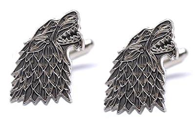 Game Of Thrones Dire Wolf House Stark Sigil Pair Of Wolf Cufflinks Westeros GOT Shirt Accessories