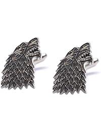 Juego de Tronos Dire Lobo Casa Stark Sigil - Par de gemelos, diseño de lobo Westeros Juego de Tronos