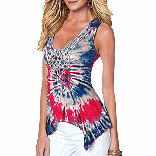 perlee sexy tie-dye cru cou irreguliere manches scoop tops blouses chemise Rouge