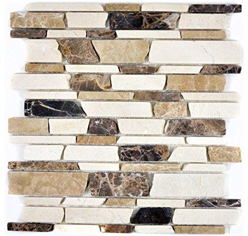 Marmor Mosaik-fußboden-fliese (Mosaik Fliese Marmor Naturstein beige braun Brickmosaik Castanao Biancone für BODEN WAND BAD WC DUSCHE KÜCHE FLIESENSPIEGEL THEKENVERKLEIDUNG BADEWANNENVERKLEIDUNG Mosaikmatte Mosaikplatte)