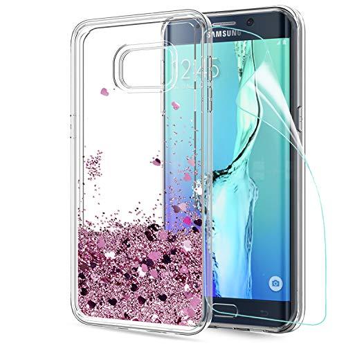 LeYi Coque Galaxy S6 Edge Plus Etui avec Film de Protection écran, Fille Personnalisé Liquide Paillette Transparente 3D Silicone Gel Antichoc Kawaii Housse pour Samsung Galaxy S6 Edge Plus Or Rose