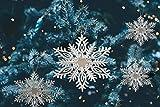 * Vier Stück Schneeflocken-Baumanhänger silberfarben mit Kordel zum Aufhängen   Christbaumschmuck Fensterdeko Weihnachtsdeko   Ø ca. 16,8 cm
