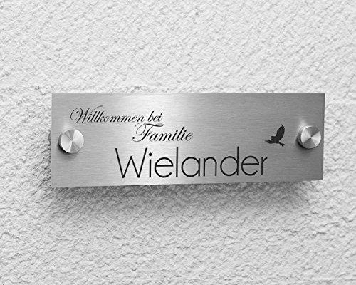 HUNDEMOTIV /& TEXT NACH WUNSCH EDELSTAHL TÜRSCHILD NAMENSSCHILD MIT LASERGRAVUR