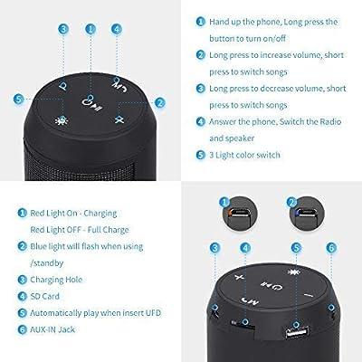 Enceinte Bluetooth Portable Haut-Parleur Bluetooth sans Fil avec LED Lumière Radio FM Fonction TF Carte TEL MUBYTREE de MUBYTREE