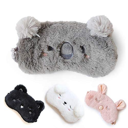 HOMEWINS Schlafmaske Atmungsaktive Super Weiche Augenmaske aus 100{7c4e03403c6e6424011c07620292810a3fb89351af9d9dd0a252c4e578edb6cf} Naturseide & Plüsch 3D Süßes Tier Verstellbare Maske für Schlafen Reisen (Grau Koala)