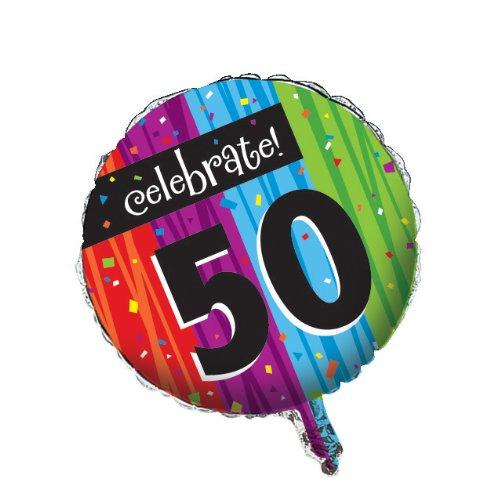 Creative Converting Partydekoration, rund, metallischer Ballon, Meilenstein-Feiern zum 50. Geburtstag