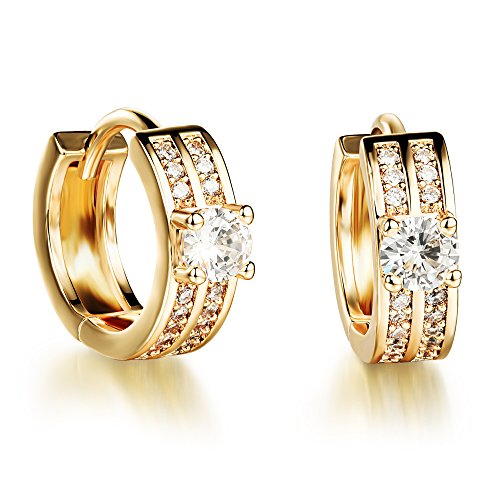 YELLOW CHIMES High Grade Crystal Gold Plated Charming Hoop Earrings for Girls and Women