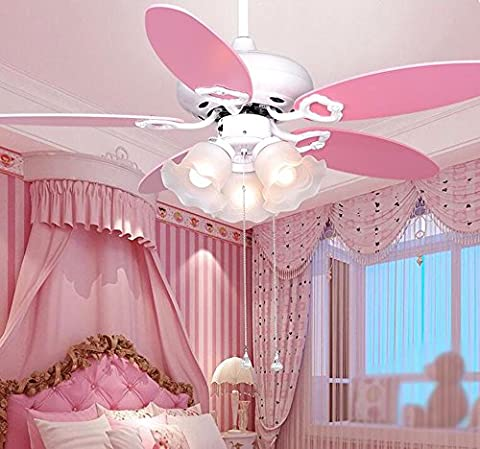 LoveScc The Living Room Bedroom Fan Chandeliers Furniture With Lamp Fan Children Girls Small Wooden Ceiling Fans Leaves And Rope Pull Switch/Diameter106Cm/