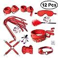 LUOEM Sous le système de lit Kit de menottes Poignets réglables de la cheville poignet de la main réglable, Masque pour les yeux Bandeau Autres jouets amusants pour les femmes, Pack de 12 (rouge)