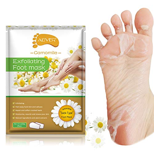 foot mask 2 Pairs Foot Peeling Mask, Camomile Scented Exfoliating Callus Peel Booties, Baby Your Foot Naturally in 1 Week (Camomile)