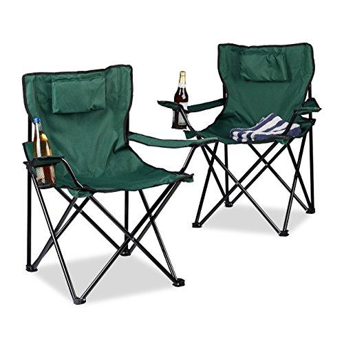 Relaxdays Campingstuhl 2er-Set, Rückenpolster, Getränkehalter, faltbar, Klappstuhl H x B x T: 82 x 78 x 50 cm, grün