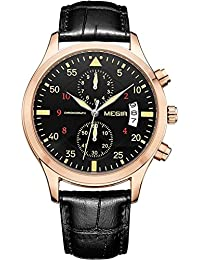 Handcuffs MEGIR 2021G Luxury Brand Chronograph Watch With Black Leather Strap For Men