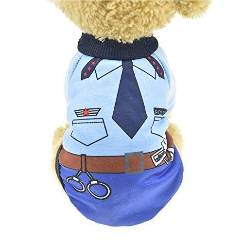 MUYAOPET Polizei Hund Kostüm Winter Warm Hund Shirt Kleidung Hund Hoodies Sweatshirts für Kleine Hunde, XXL, Police (Polizei Hunde Kostüm Xxl)