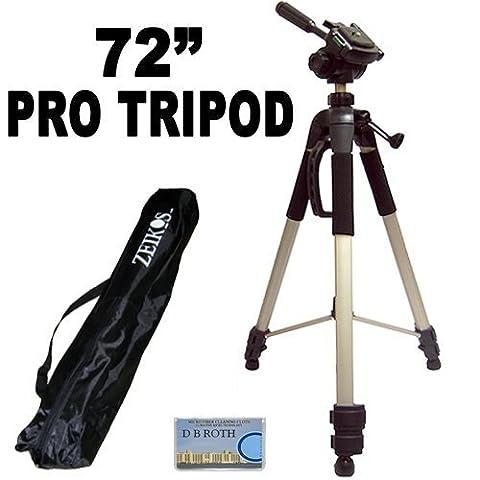 Professionelles PRO 183 cm super starkes Stativ mit weicher Deluxe Stativ-Tragetasche für die Nikon 1 J1, V1, D40, D40x, D50, D60, D70, D80, D90, D100, D200, D300, D3, D3S, D700, D3000, D5000, D3100, D3200, D7000, D5100, D4, D800, D800E Digital SLR Cameras