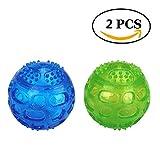 Hundeball,JULYFOX Hundespielzeug mit Quietscher Squeezz Ball aus Naturkautschuck mit Dental-Zahnpflege-Funktion Dentalball Spielball Wurfball Kauspielzeug 2 Stück (1 Blau+1 Grün)
