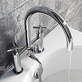Enki modernem Kreuz Griff Mischbatterie für Badewanne Wasserhähne Dusche Badezimmer Chrom Rund Oxford