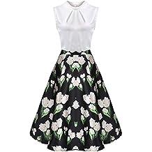18a606133e3b01 Zeagoo Damen Rockabilly Kleid Vintage Partykleid Blumen Muster elegant  Knielang A-Line Kleid Stitching Hochzeit