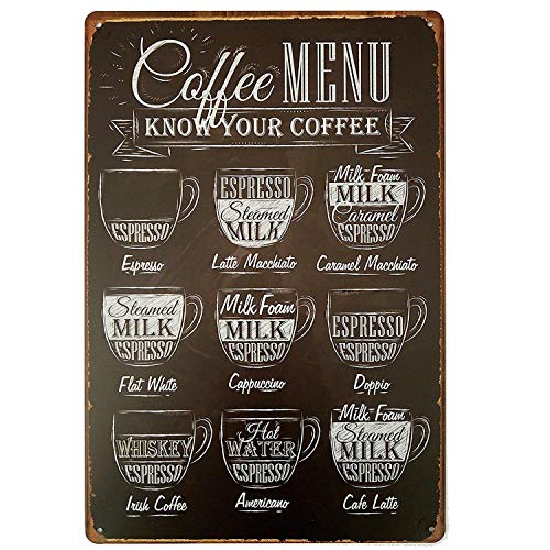 Coffee Menu Póster Pared Metal Creativo Placa Decorativa