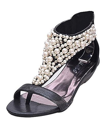 Minetom Femme Bohemian Style Perlée Sandales Compensées Chaussures Été Peep